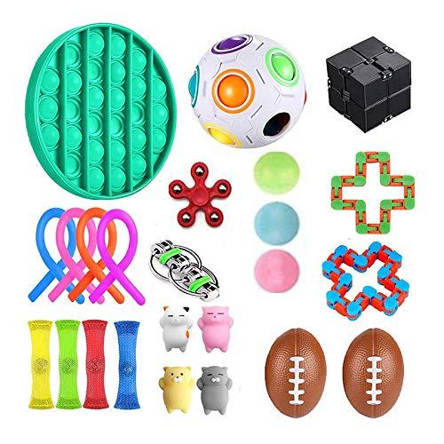 Sensory Fidget Toys Set, 24 StüCk Fidget Toys Angst Fingerspielzeug Vent Dekompression Spielzeug Stressabbau Und Anti-Angst Sensory Toys Set FüR Autismus Angstspielzeug Erwachsene Und Kinder 24PACK