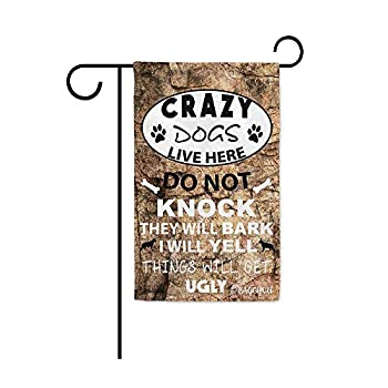 BAGEYOU Crazy Dogs Live Here Do Not Knock Sign Decorative Garden Flag for Outside Puppy Paw Bone Home Decor Yard Banner with Stone Background 12.5X18 Inch Printed Double Sided