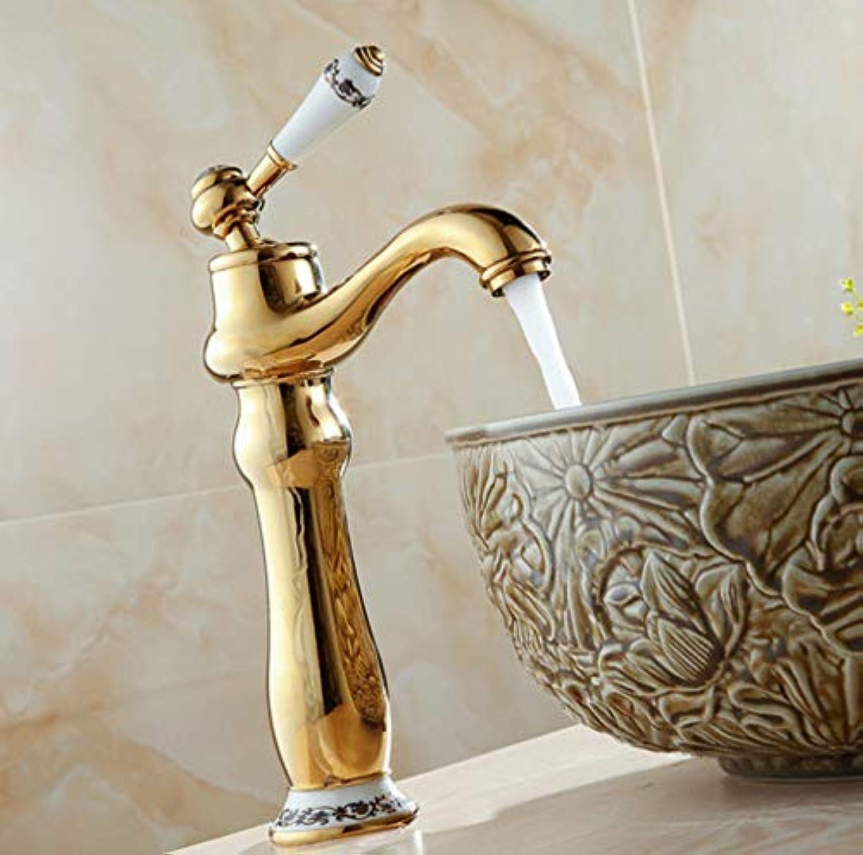 CZOOR Waschtischarmaturen Deck Montiert Gold Wasserhahn Für Bad Einhand Einlochmontage Becken Mischbatterie Heie Und Kalte Wasserhhne