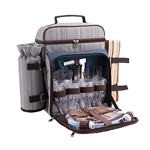 Mochila de refrigeración suave   Bolsa enfriadora plegable con alfombrilla de picnic y bolsa de refrigeración suave para camping, barbacoa/actividades familiares al aire libre (gris)