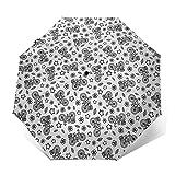Paraguas Plegable Automático Impermeable Bicicleta ilustrada con Flor, Paraguas De Viaje Compacto A Prueba De Viento, Folding Umbrella, Dosel Reforzado, Mango Ergonómico