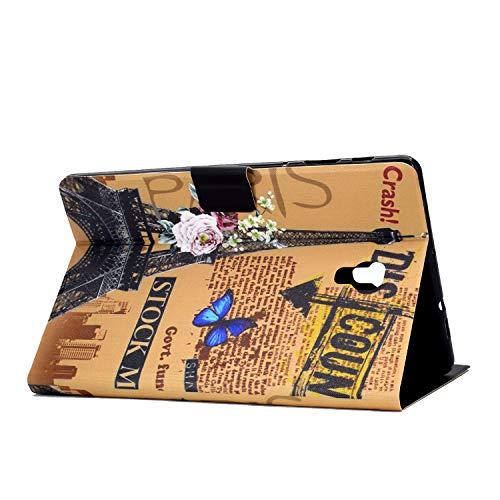 CaseFun Samsung Galaxy Tab A 10.5 2018 SM-T590/T595 Hülle Case PU Leder Tasche Magnetisch Schutzhülle Flip Cover mit Auto Aufwachen/Schlaf Standfunktion, Schmetterling Eiffelturm