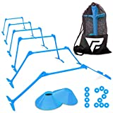 Pro Adjustable Hurdles and Cone Set – 6 Agility Hurdles (6', 9' or 12' Height) with 12 Disc Cones for Soccer, Sports, Plyometric Speed Training – Includes Carry Bag & 2 Agility Drills eBooks (Blue)