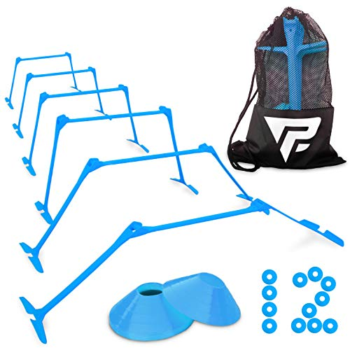 "Pro Adjustable Hurdles and Cone Set – 6 Agility Hurdles (6"", 9"" or 12"" Height) with 12 Disc Cones for Soccer, Sports, Plyometric Speed Training – Includes Carry Bag & 2 Agility Drills eBooks (Blue)"