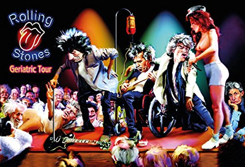 Schatzmix Rolling Stones Geriatric Tour lustiges Karikatur Bild Metal Sign deko Sign Garten Blech
