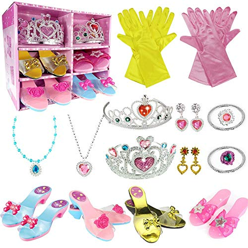 WTOR Princess Dress Up Shoes Toy 4 Girl Plastic Shoes and Jewelry Accessories Role Play Collection Shoe Set Gift for Toddlers Little Girls 3 4 5 6 7 8 Years Old