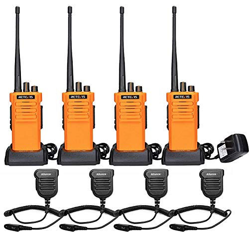 Retevis RT29 2 Way Radios Walkie Talkies Adults Long Range, Heavy Duty Two Way Radios Rechargeable 3200mAh Battery VOX Alarm with IP67 Waterproof Speak Mic, for Construction Site Warehouse(4 Pack)