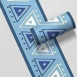 Borde del papel pintado Triángulo azul Auto Adhesivo del Papel Pintado del PVC Cenefa autoadhesiva para decoración de pared de cocina baño 10 cm X 500 cm