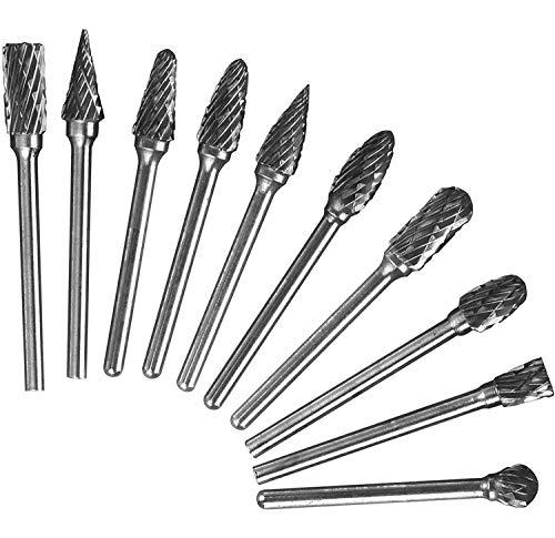 10 Stück Hartmetall Frässtifte Set, 3mm Schaft Holzfräser für Bohrmaschine Raspel Set für Dremel Fräser, Metall Holz Holzbearbeitung Bohren Polieren Carving Gravur Werkzeug Bohrer Satz