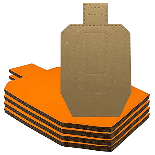 Solid Tactical 20 Half USPSA Cardboard Targets for Shooting with Orange and Plain Cardboard Sides, 14.76' x 8.86' inches, with .20' Non Scoring Border