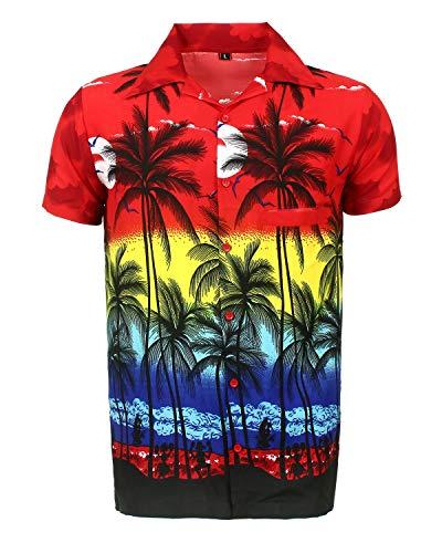 Camisa Hawaiana para Hombre, diseño de Palmeras, para la Playa, Fiestas, Verano y...