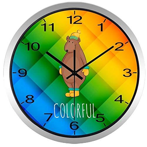 Wanduhr Cartoon Kinderzimmer Animal Series Wanduhr Fox Squirrel Baby Room Clock 14Inch B194S
