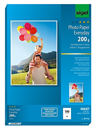 Sigel IP712 InkJet Everyday plus Photo Paper, glossy, 135.1 lbs, A4, 100 sheets