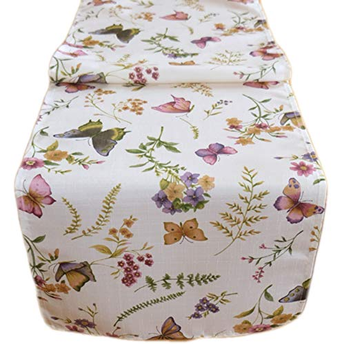 Tischdecke 40x140 cm Rechteckig Pflegeleicht Creme Schmetterlinge Bunt Gartentischdecke Küchendecke Motivdruck (Tischläufer 40x140 cm)