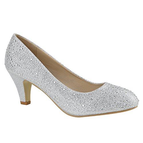 Klassische Damen Pumps Stilettos Abend Leder-Optik Glitzer Metallic Lack Schleifen Tanz Braut Schuhe 136149 Silber Strass 36 Flandell