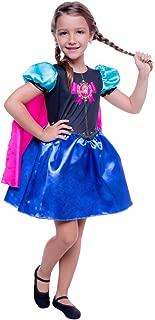Fantasia Infantil Vestido Capa Frozen Anna Tam. 3 À 12 Anos