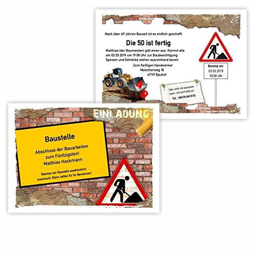 Einladungskarte zum Geburtstag Motiv Baustelle mit Bagger zweiseitig auch für Gesellenprüfung Meisterprüfung Feste Partys und Feiern, 10 Karten - 17 x 12 cm