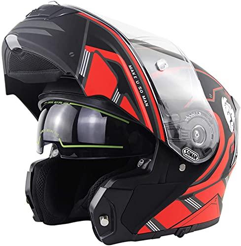Casco De Moto Modular,con Doble Visera Casco Integral Modular Moto,Certificado Dot/ECE para Motocicleta Ciclomotor Scooter Casco De Protección para Hombres Y Mujeres Adultos