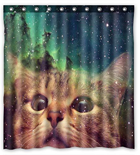 Galaxie Weltall Cool Cat aus wasserdichtem Polyester-Duschvorhang, 152.40 cm B x T) 182.88 cm (h)