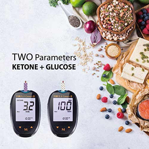 FORA 6 Connect BG50KT10 Bluetooth Blood Ketone and Blood Glucose Testing Meter Kit to Monitor Diabetes and Keto Diet, 1 Meter, 1 Lancing, 100 Lancets, 10 Ketone Strips, 50 Glucose Strips, Carry Case