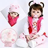 antboat Lebensechte Reborn Babypuppen Mädchen 24 Zoll 60cm Weiches Silikon Vinyl Neugeborenes Babyspielzeug Handgemacht Reborn Baby