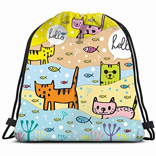JIMSTRES cute cat adorable animals wildlife animal Drawstring Backpack Gym Sack Lightweight Bag Water Resistant Gym Backpack for Women&Men for Sports,Travelling,Hiking,Camping,Shopping Yoga