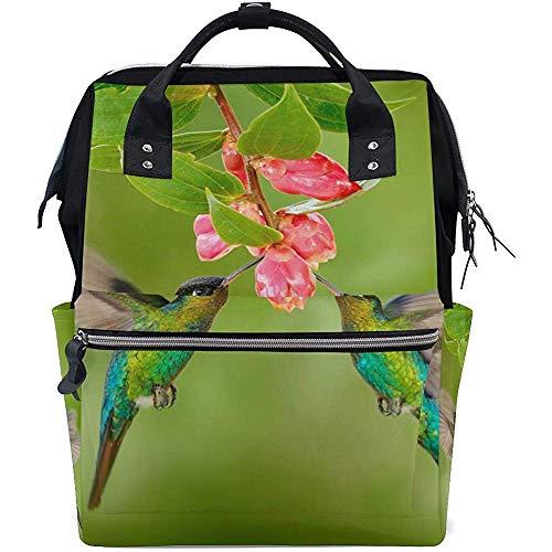 College Bag Tier Kolibri Blume Lässig Papa Windel Rucksäcke Multifunktionsrucksack Baby Taschen Unisex Große Kapazität Reise Reißverschluss Mutter 28X18X40Cm