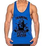 THE LION Goku Super Saiyan de los Hombres Camisa del músculo One Goku Dragon Master Son Ball Vegeta Turtle Roshi Piece Gym, Farbe2:Azul;Größe2:S