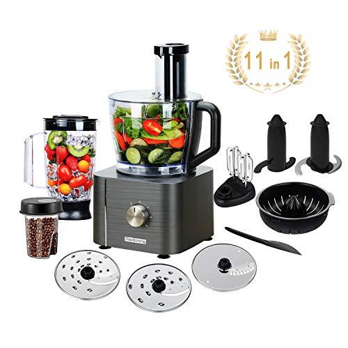 Procesador de Alimentos, 11 en 1 Robot de Cocina Multifuncion (Licuadora, Picadora, Multi Mezclador con Cuchilla para Masa) 1100W 3.5L+1.2L TopStrong