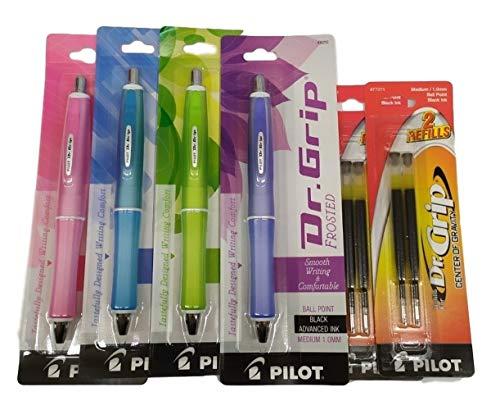 (4) Pilot Dr. Grip Frosted Retractable Ball Point Pen, Medium Point, Green Barrel, Pink Barrel, Blue Barrel, Purple Barrel, Black Ink, 2 Refill (36250, 36251, 36252, 36253)