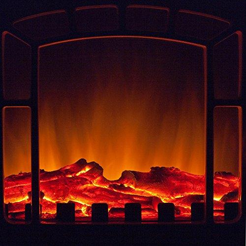 Elektro-Kamin mit Heizung und Kaminfeuer-Effekt weiß - 3