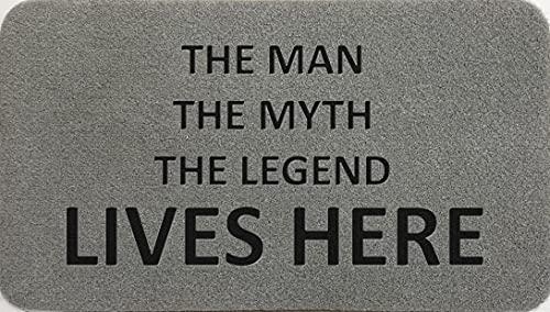 The Man The Myth The Legend - Felpudo de fibra de coco sintético de nailon gris claro, marrón, crema, verde