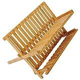 WOLTU Escurreplatos Plegables de Bambú con 2 Niveles Escurridor de Platos para Secado Utensilios y...