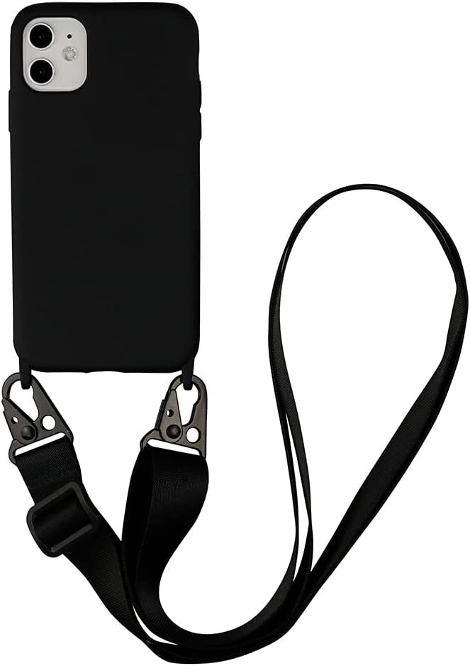 Fycyko Compatible with iPhone 11 Case Silicone Crossbody Adjustable Strap Neck Lanyard Shockproof Protective Cover for iPhone 11 6.1 inch- Black