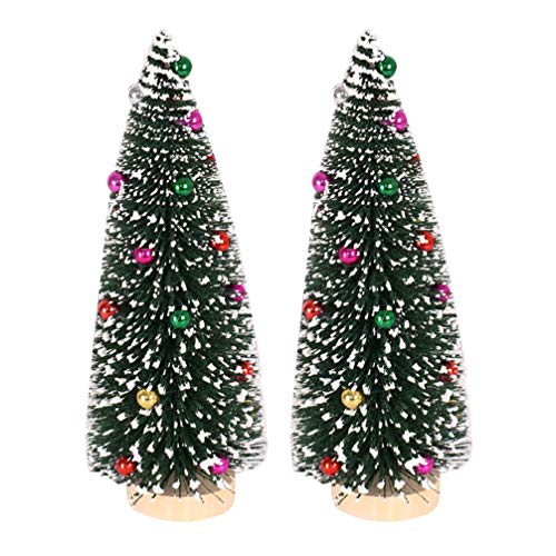 ABOOFAN Mini Árbol de Navidad Chuchería Artificial Pequeño Pino Pequeño con Bases de Madera Pequeños Árboles de Sisal Helado Decoración de Mesa de La Habitación de Vacaciones de Navidad