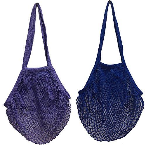 2 bolsas de malla de algodón lavable, para compra o como bolso de mano, portátiles, reutilizables, con asa larga para llevar al hombro, algodón, Lpurple Blue, Medium