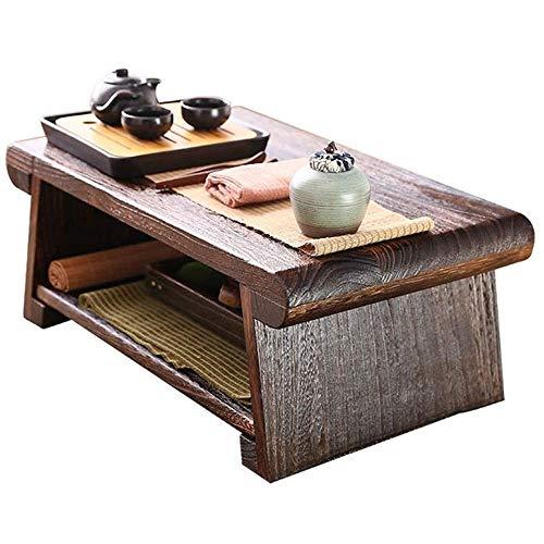 WMDXTM Einfach und praktisch Massivholz-Platz Tisch, Double-Layer-Design-faltbar, 60 * 35 * 23 cm, 70 * 35 * 28 cm, 80 * 40 * 33 cm (Size : 60cm)