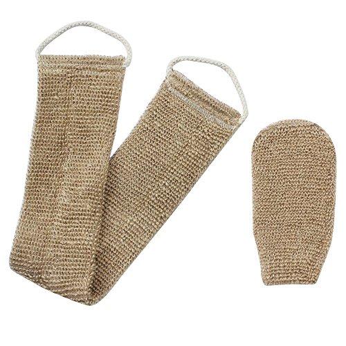 Homgaty Brosse à récurer en chanvre pour le dos et le corps, exfoliant 100% naturel avec gant