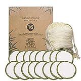 Iwinna 16 almohadillas de fibra de bambú para quitar el maquillaje, reutilizables de IncIwinna 3.15, lavables y suaves, para el cuidado facial y la piel, almohadillas redondas para ojos