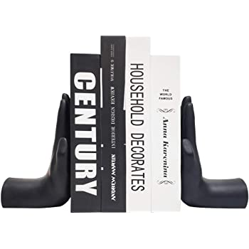 JSYS Bookends, Universal Economy Decorative Bookends, Heavy Book Ends Supports for Books, 6.7x4.1x3.5inch, Black,1Pair/2Piece (Hand Bookends)