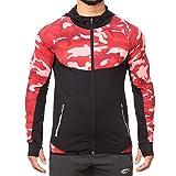 SMILODOX Slim Fit Kapuzenpullover Herren 'Strength' | Camouflage - Zip Hoodie für Sport Gym | Trainingsjacke - Sportpullover - Sweatjacke - Kapuzenpulli, Größe:S, Farbe:Red Camouflage