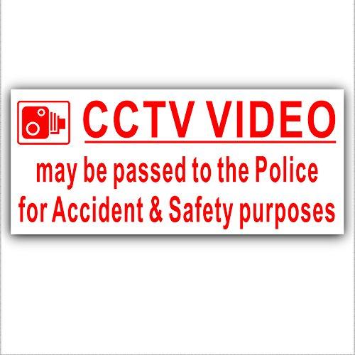 1 Sticker extérieur Motif CCTV vidéo transmis à la Police d'un Accident et à des fins de sécurité-Rouge/blanc-sécurité Warning- 200 mm x 87 mm -CCTV Sign-camion, camionnette, camion, Bus Taxi Cab et Minicab, Mini