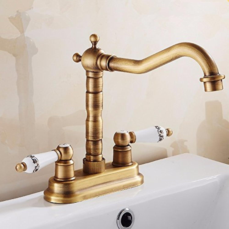 LHbox Bad Armatur in Bad für Waschbecken Waschtisch Wasserhahn Waschtischarmatur Alle Kupfer Antik Doppel Waschbecken Armaturen die heien und Kalten Wasserhahn zu Drehen, Antike Farbe