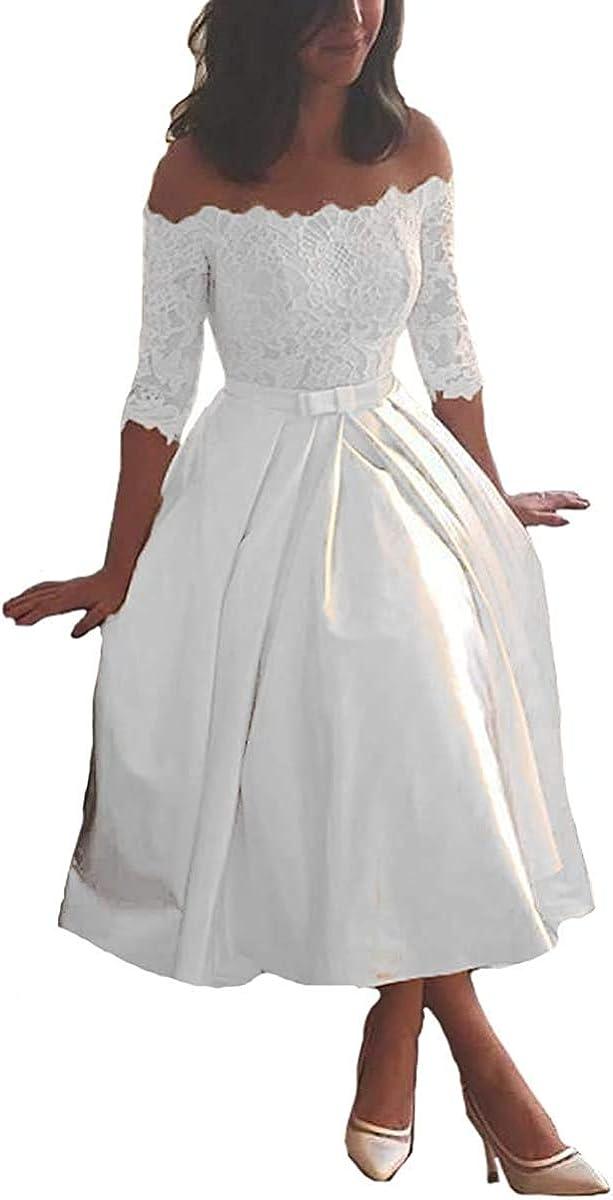 LINGLINGDING Max 54% OFF Max 56% OFF Women Lace Off Shoulder Wedding Dresses Short B for