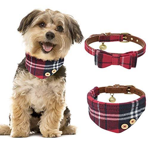 Tacobear 2 Stücke Hundehalsband Leder Katze Halsband Verstellbare Hundehalsband mit Fliege Halstuch und Glocke für Kleine Hund, Welpen, Katze, Haustier