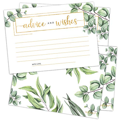 Set of 50 Advice and Wishes Cards - Double Sided Greenery Cards, Perfect for the Bride and Groom, Baby Shower, Bridal Shower, Wedding Shower, Graduation Party, Retirement Party, Anniversary