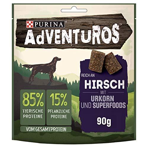 PURINA AdVENTuROS Hundeleckerli proteinreich, Hundesnack mit Hirsch, Urkorn und Superfoods, 6er Pack (6 x 90g)