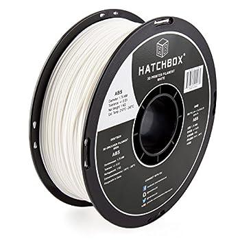 HATCHBOX ABS 3D Printer Filament Dimensional Accuracy +/- 0.03 mm 1 kg Spool 1.75 mm White Model Number  3D ABS-1KG1.75-WHT