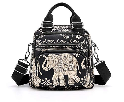 LaRechor Elefant Tasche Damen Frauen Umhängetasche Schultertasche Handasche Nylon Rucksack Schulrucksack mit Großer Kapazität Kleine Reisetasche Leicht National Vintage
