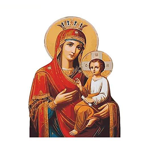 Pintar por Numeros para Adultos Virgen María Niño Patrón Kit de pintura al óleo para bricolaje con Pinceles y Pinturas Decoraciones para el Hogar (Sin Marco) 40x50 cm
